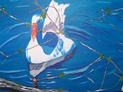 Geese Paintings - Goose on False River by Nell Passman