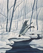 Geese Paintings - Goose on Winter Stream by Gary McDonnell