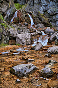 Landscape Pyrography Prints - Gordale Scar Waterfall Print by Karl Wilson