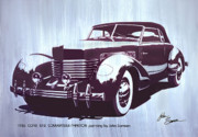 Museum Mixed Media Framed Prints - GORDON BUEHRIGS DREAM CAR  1936 Cord   Convertible classic automotive art sketch rendering         Framed Print by John Samsen