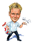 Caricatures Paintings - Gordon Ramsay by Art