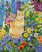 Garden Animals Posters - Gordon s Cat Poster by Hilary Jones