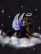Gordon Setter Prints - Gordon setter Angel Print by Darlene Grubbs