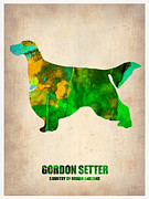 Pets Art Digital Art Metal Prints - Gordon Setter Poster 2 Metal Print by Irina  March