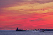 Print Prints - Gorgeous Connectiut Lighhouse Sunset Print by Cindy Lee Longhini
