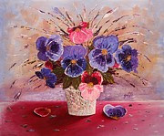 Gift For Originals - Gorgeous Pansies original palette knife painting by Georgeta Blanaru