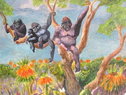 Primates Originals - Gorilla Family with Orange Flowers by Lynn Maverick Denzer