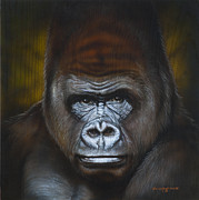 Portrait Painting Originals - Gorilla by Tim  Scoggins