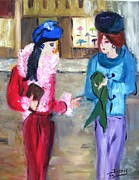 Impressionistic Drawings - Gossip Girls by Doris Cohen
