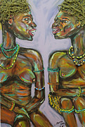Talking Painting Acrylic Prints - Gossip Acrylic Print by Lucy Matta