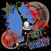 Basketball Abstract Digital Art Posters - Got Game? Poster by David G Paul