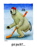 Winter Sports Paintings - got puck... by Will Bullas by Will Bullas