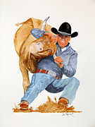 Wrestling Painting Originals - Got The Bull By The Horns by Joe Prater