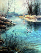 Fisherman In Stream Paintings - Gotcha by Hanne Lore Koehler
