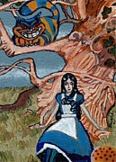 Hallucination Painting Prints - Goth Alice and the Cheshire Cat Print by Bronwen Skye