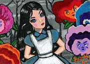 Hallucination Painting Prints - Goth Alice I Print by Bronwen Skye