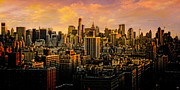 New York City Skyline Digital Art Framed Prints - Gotham Sunset Framed Print by Chris Lord
