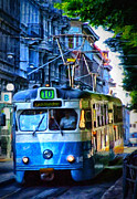 Thin Digital Art Posters - Gothenburg Tram Painting Poster by Antony McAulay
