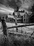 Haunted Shack Prints - Gothic Abandoned Farm House in Ontario Canada Print by Randall Nyhof