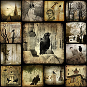 Edgar Allan Poe Framed Prints - Gothic and Crows Framed Print by Gothicolors With Crows