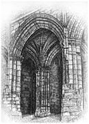 Church Drawings Originals - Gothic Arch by Tanya Crum