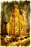 Dusk Mixed Media Framed Prints - Gothic cathedral Framed Print by Jaroslaw Grudzinski