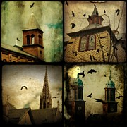 Gothic Crows Prints - Gothic Churches - and crows Print by Gothicolors And Crows