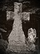Headstones Mixed Media Prints - Gothic Cross Print by Chalet Roome-Rigdon