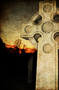 Cracked Stone Prints - Gothic Cross Print by Paul Ward