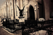 Haunting Art Photos - Gothic Fantasy Church Gargoyle - Surreal Guardian Gargoyle Haunting Spooky Architecture Black Gates by Kathy Fornal