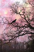 Ravens And Crows Photography Prints - Gothic Fantasy Surreal Nature - Haunting Pink Trees Limbs With Haunting Spooky Raven Print by Kathy Fornal