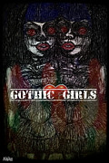 Abstract Fashion Designer Art Posters - Gothic Fashion Girl  Poster by Akiko Kobayashi