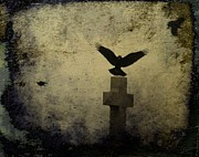 Birds In Graveyard Posters - Gothic Landing Poster by Gothicolors And Crows
