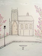 Lamp Post Mixed Media Prints - Gothic Library in Spring Print by Christine Corretti