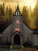Surreal Fantasy Gothic Church Posters - Gothic Old Church Autumn Forest Woodlands Poster by Kathy Fornal