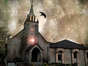 Ravens With Church Canvas Photos Prints - Gothic Surreal Fantasy Church With Ravens Flying Print by Kathy Fornal