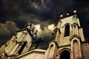 Church Photos Prints - Gothic Surreal Haunting Church Steeple With Cross - Dark Gothic Church Black Spooky Midnight Sky Print by Kathy Fornal