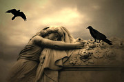 Ravens And Crows Photography Posters - Gothic Surreal Haunting Female Cemetery Draped Over Coffin With Black Ravens Poster by Kathy Fornal