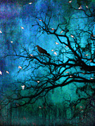Crows In Trees Posters - Gothic Surreal Nature Ravens Crow and Birds Poster by Kathy Fornal