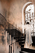 Gothic Horror Prints - Gothic Surreal Spooky Grim Reaper On Steps Print by Kathy Fornal