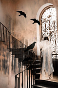 Gothic Surreal Prints - Gothic - The Grim Reaper With Ravens Crows Print by Kathy Fornal