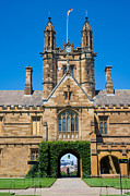 Large Clock Prints - Gothic tower and entrance of Sydney University Print by David Hill