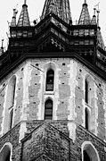 Town Square Prints - Gothic tower of the 14th century gothic basilica of the Virgin Mary s with trumpeter playing the Krakow hourly trumpet signal Print by Joe Fox