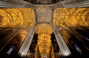 Vaults Posters - Gothic Vaults of Seville Cathedral in Spain Poster by Artur Bogacki