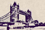 London England  Digital Art - Gothic Victorian Tower Bridge - London by Daniel Hagerman