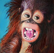 Orangutan Painting Acrylic Prints - Gotta Love Me Acrylic Print by Shirl Theis