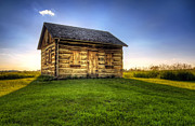 Prairie Photo Posters - Gotten Log Cabin Poster by Scott Norris