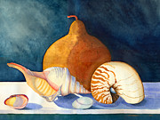 Navy Paintings - Gourd and Shells by Katherine Miller