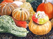 Farm Stand Painting Prints - Gourds Print by Carol Flagg
