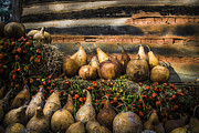 Tennessee Hay Bales Metal Prints - Gourds Metal Print by Debra and Dave Vanderlaan